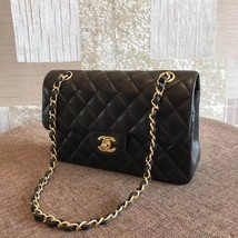NEW AUTH CHANEL 2019 SMALL Quilted Lambskin Classic Black Double Flap Bag GHW image 4