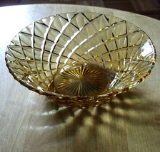 Midcentury vintage kitchen AMBER GLASS BOWL Dia... - $14.50