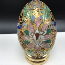 Collectible Egg Vintage Figurine Franklin Mint Stand Cloisonne Flowers Floral 2 - $23.76