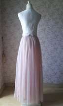 Sleeveless Crop Lace Long Tulle Skirt Pink Rustic Bridesmaid Dresses Plus Size image 2
