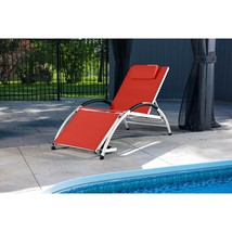 Outdoor Lounge Chair in Red Aluminum Frame Reclining Poolside Beach Porc... - $110.31