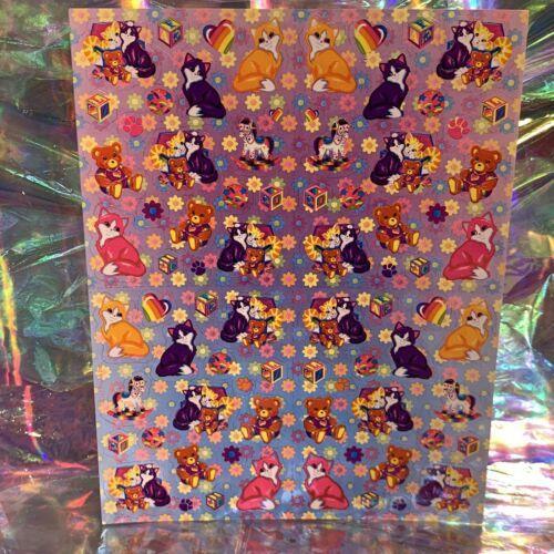 LEGIT VINTAGE Lisa Frank Sticker Sheet S722 Kitties & Teddy Bears & Blocks