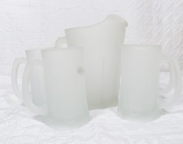 Vintage Indiana Glass Tiara White Frosted  Patio Set Pitcher & 4 Mugs w/... - $59.39