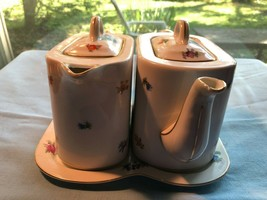 Vintage German Porcelain Coffee and Teapot with Tray - $31.99