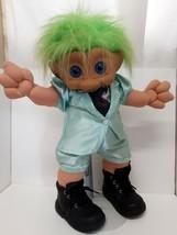 Treasure Trolls Doll Green Ace Novelty 1991 Tuxedo Tie Custom Boots Vint... - $49.49