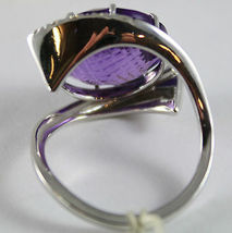 18K WHITE GOLD RING DIAMONDS ct0.38 AMETHYST ct11.50 AMAZING CUT, MADE IN ITALY image 6