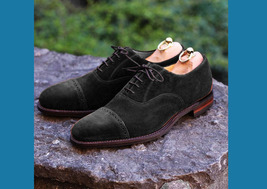 Handcrafted BlackColor Maroon Sole Rounded Cap Toe Superior Leather Oxford Shoes - $139.90+