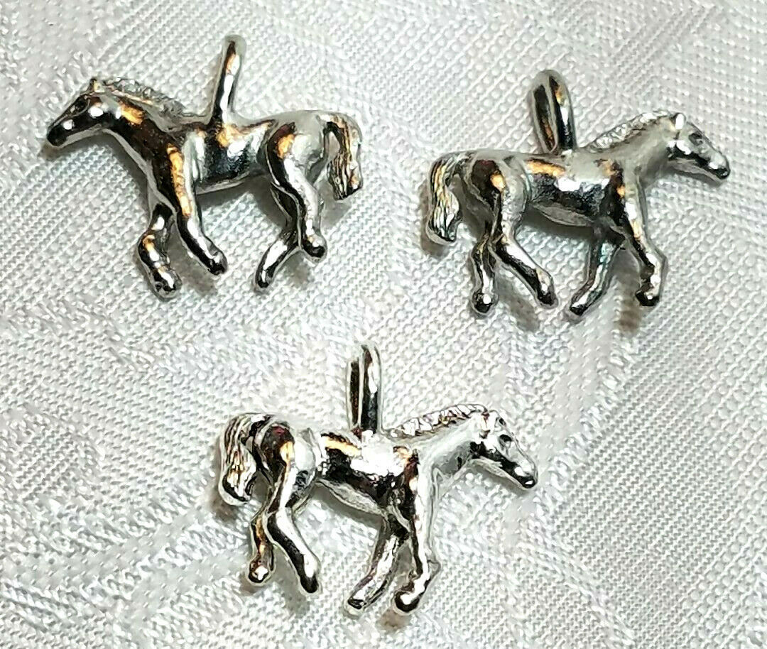 HORSE PONY FINE PEWTER PENDANT CHARM - 3.5mm L x 16mm W x 18.5mm D