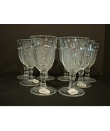Set of 8 Indiana Glass Clear Paneled Daisy & Finecut Heirloom 8 Oz. Goblets - $100.00