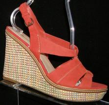 AK Anne Klein 'Tague' coral leather round toe slingback platform wedges 7.5M - $31.47