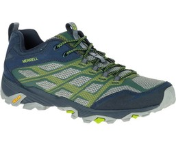 MERRELL MOAB FST MEN'S NAVY/GREEN VIBRAM SOLE HIKING SHOES #J36925 - $82.50