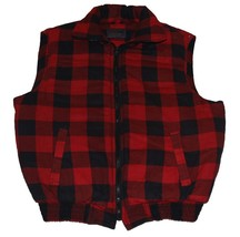 Woodland Red Black Buffalo Plaid Thick Flannel Inside & Outside Vest  MN... - $32.99