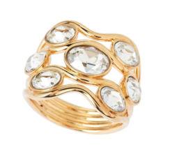 Swarovski Crystal FRAGMENT Yellow Gold Wide Band Ring 55/M/7 Sold Out RE... - $98.01