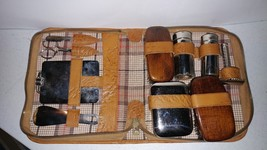 Vintage Leather Case Grooming Kit 1940's 1950's - $21.67