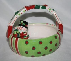 Fitz & Floyd Merry Christmas Snowman Basket New in Box - $22.00