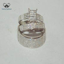 Bride & Groom Trio Ring Set White Gold Plated 925 Sterling Silver Round Cut CZ - $161.99