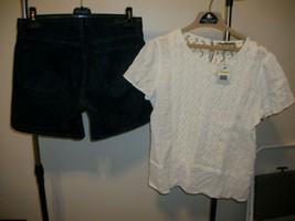 CALVIN KLEIN Denim Jean Shorts 8 & NWT Nine West Vintage America Top M - $13.60