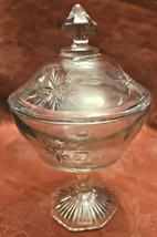 Vintage Indiana Glass Clear Starburst Pattern Pedestal Covered Candy Dish