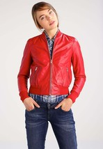 New Classic Slim Fit Stylish Soft Lambskin Leather Jacket for Women -86