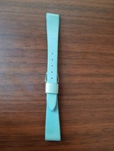 vintage 14 mm blue leather watch strap with silver buckle - $14.85