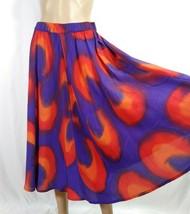 Aliki Yamani Watercolor Midi Skirt M Red Purple Silk Full Circle Swing Skater - $28.05