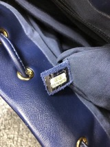 AUTH CHANEL NAVY BLUE CHEVRON QUILTED LEATHER LARGE URBAN SPIRIT BACKPACK SHW image 8