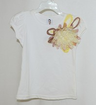 Cute Princess White Cap Sleeve Shirt Large Yellow Brown Flower Size 3 to 4 Yr image 1