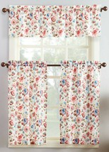 "3 Pc. Curtains Set: 2 Tiers (22""x36"") & Valance (54""x14"") FLOWERS, DORIS... - $17.81"