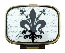 Value Arts Fleur de Lis Pill Box, Brass and Glass, 2.25 Inches Long - $15.44