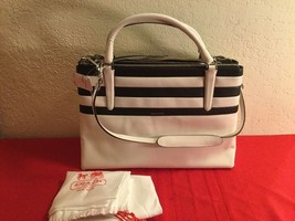 Authentic COACH BROUG BR STRP WHITE BLACK LEATHER BAG SATCHEL CARRYALL 3... - $374.00