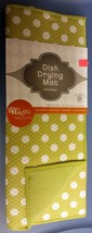 """Microfiber Drying Mat, Approx 16"""" x 19"""", WHITE POLKA DOTS ON GREEN, by SL - $12.86"""
