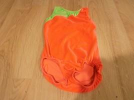 Size Child Medium 8-10 Motion Wear Coral Orange Green Dance Gymnastics L... - $20.00
