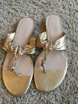 Ann Taylor Loft Gold Thong Sandals Slides Flip ... - $12.19