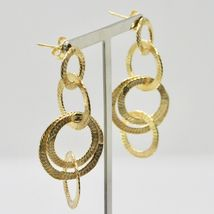 Drop Earrings Silver 925 Foil Gold Circles by Maria Ielpo Made in Italy image 4