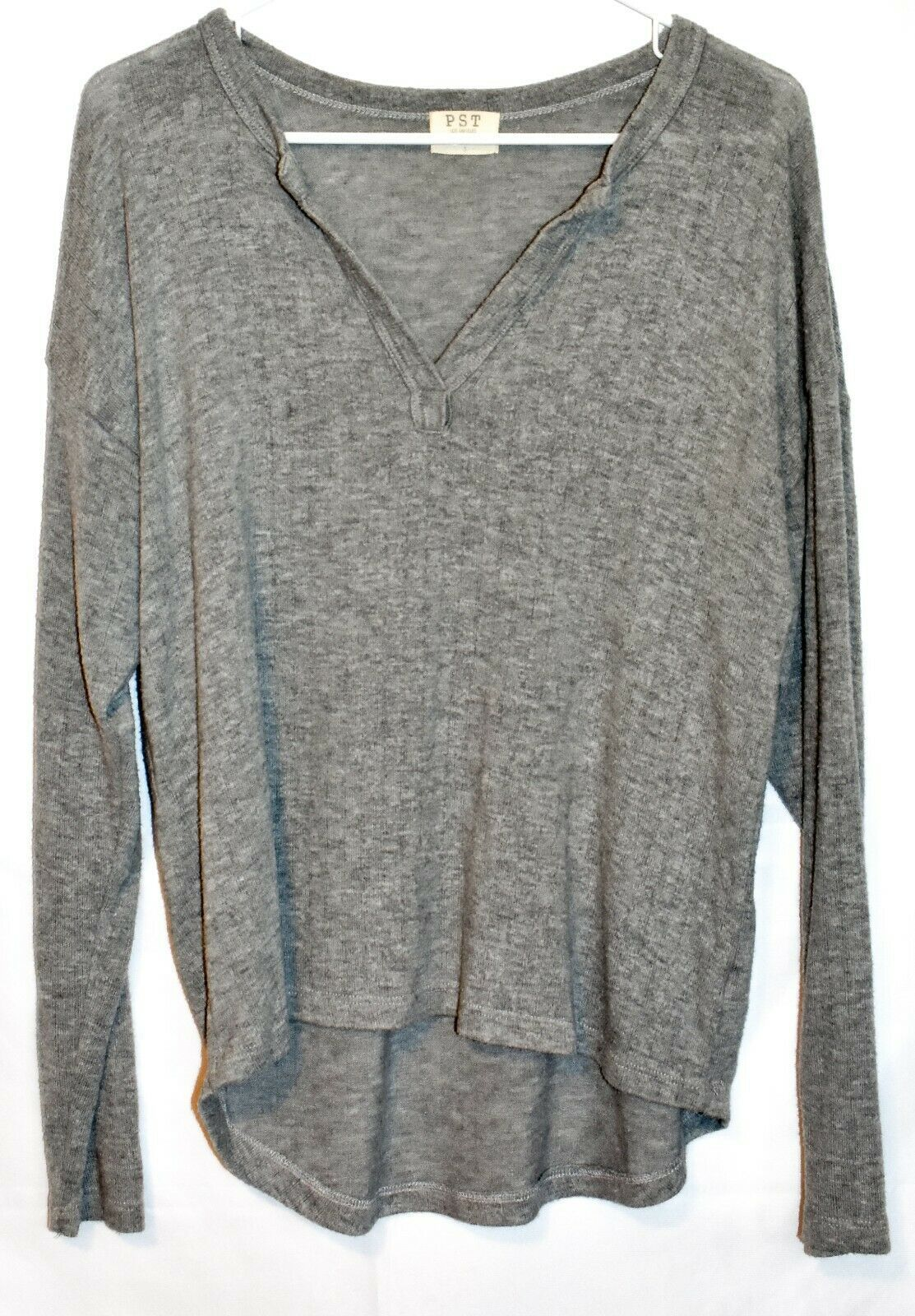 PST by Project Social T Women's Gray Pullover V-Neck Oversized Knit Sweater S