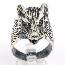 Silver Ring 925, Burnished, Head of Fox, Size Adjustable image 3