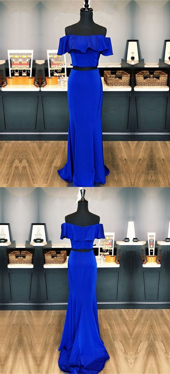 two piece prom dress,royal blue prom dress,BD45003