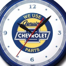 Chevrolet Parts Neon Wall Clock Hand Made In The USA 20 Inch Diameter - $296.88