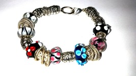 Gorgeous Glass Bead and Silver Tone Bracelet - $17.99