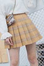 Winter Plaid Pleated Skirt Women Girls Plus Size Wool Pleated Plaid Skirt Yellow image 2