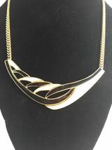 Vintage Trifari Black White Enamel Necklace Goldtone Mid Century Modern Style - $28.96