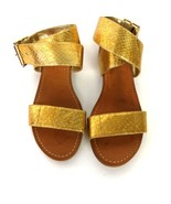 Vince Camuto Gold Sandals Sz 6 USA Ankle Strap Buckle Leather - $35.00