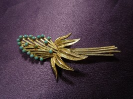 Ledo 1962 Abstract Flower Turquoise Beaded Floral Pin Brooch Vintage  - $24.75