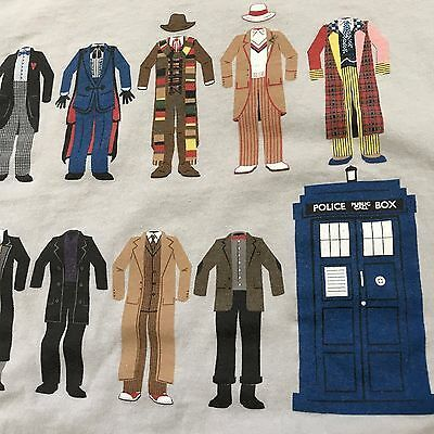 Doctor Who T Shirt Tardis Police Box Dr Outfits L Men's Gray BBC