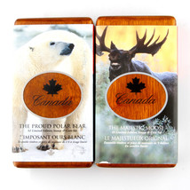 SET OF TWO CANADIAN PROOF COINS: MAJESTIC MOOSE AND PROUD POLAR BEAR BOT... - $222.75