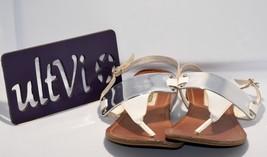 Steve Madden 10M 'Baylin' White Slingback Flat Sole Thong Sandal Buckle - $12.45