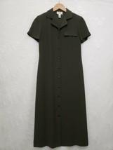 Talbots Petite Button Front Maxi Shirtwaist Dress Moss Olive Green SS Si... - $22.41