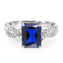 Infinity Ring Rectangular Shape Blue Sapphire 14k White Gold Plated 925 ... - $81.99
