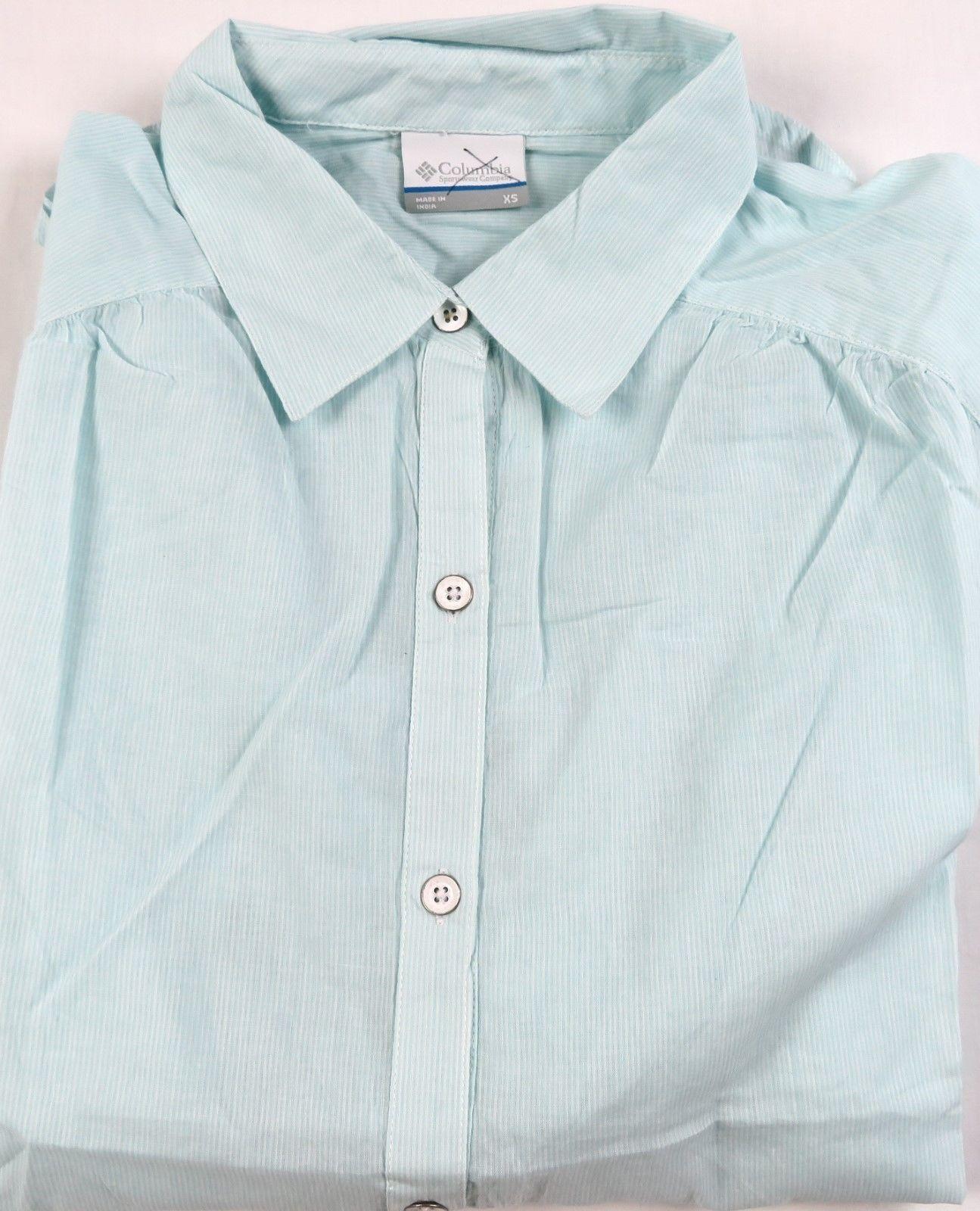 X-Small Columbia Women's Shirt Long Sleeve 3/4 Button Down Mint Stripe