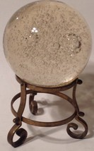Heavy Vintage Crystal Ball With Bubbles On Brass Stand - $27.72